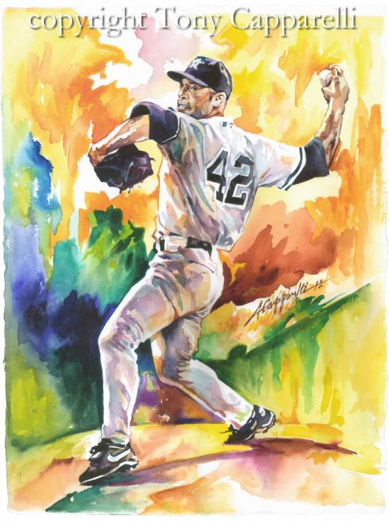 NY Yankees future Hall of Famer Mariano Rivera by Sports Artist Tony Capparelli. Video showing the creation of this watercolor can be seen at: https://www.youtube.com/watch?v=Y0CrG7qCwow